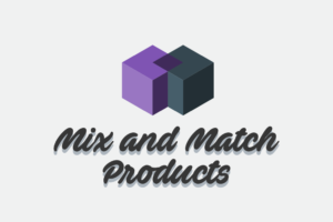 "Two interlocking cubes with text ""Mix and Match Products"""