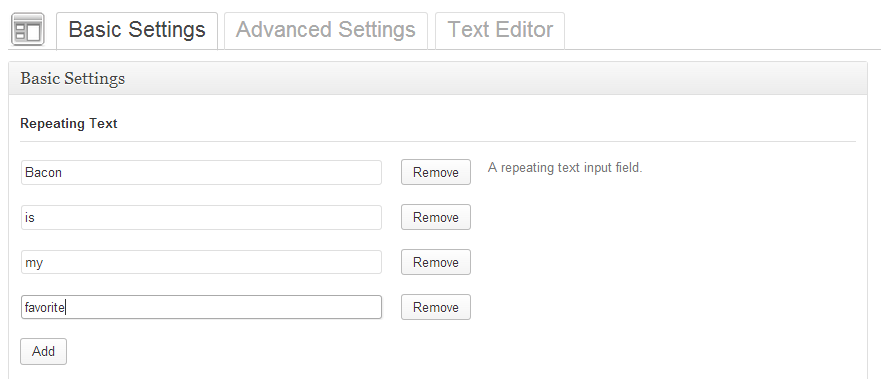 Add a Repeating Text Field to Options Framework Plugin