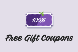 "A 100% off coupon with text ""Free Gift Coupons"""