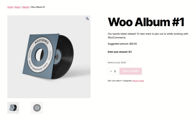 "Screenshot of Woo Album #1 product showing an ""Enter your amount"" text input."
