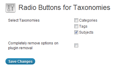 Radio Buttons for Taxonomies settings configuration
