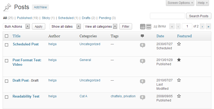 "A screenshot of the WordPress admin posts table showing a ""Featured"" column with a star that is clickable and is filled in when the post is featured."