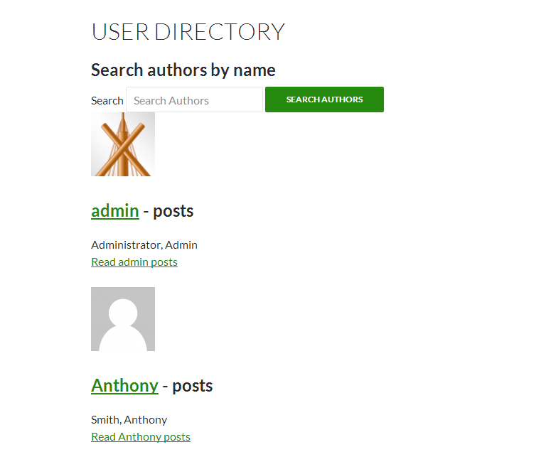 A directory list of users, showing avatar, title, and number of posts, for each author